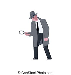 Mysterious man holding a magnifying glass