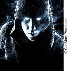 Mysterious man in abstract smoke