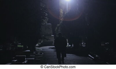 Mysterious man in black cloak and hat going at night in the park under the light of the moon