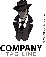 Mysterious Man Logo.eps - Vector Design of Black and White...