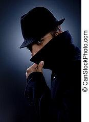 Mysterious man retro portrait
