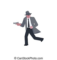 Mysterious man takes aim with a pistol and runs away