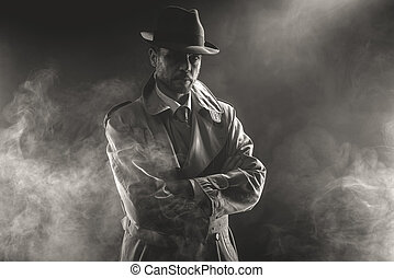 Mysterious man waiting in the fog - Mysterious man waiting...