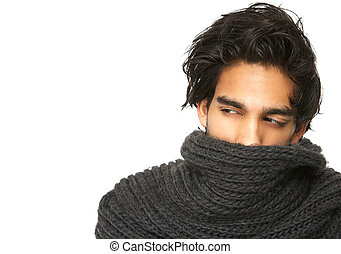 Mysterious man with face covered by wool scarf