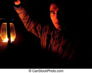 Mysterious Man with Lamp - Mysterious man holding a lamp in ...
