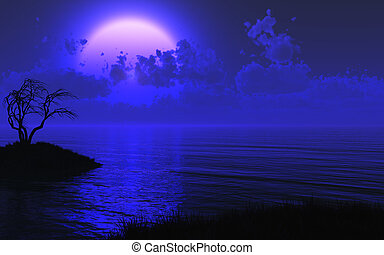 A midnight shore with a large mysterious moon - 3D render. The right side has been left relatively clear for placement of your text or image.
