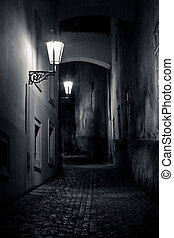 mysterious narrow alley with lanterns