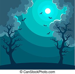 Mysterious night landscape with moon in dark sky