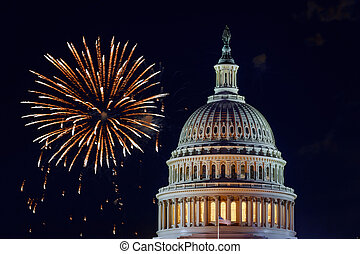 Mysterious night sky with full moon United States Capitol Building in Washington DC with Fireworks Background For 4th of July