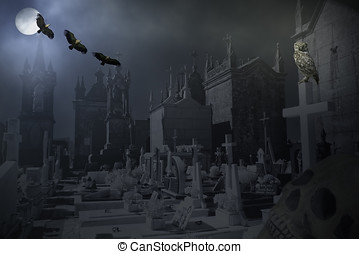 Mysterious old cemetery at night