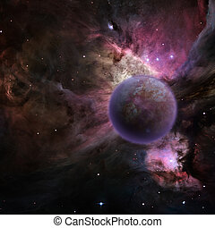 Mysterious planet, purple nebula