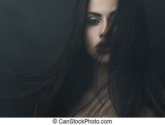 mysterious portrait of a girl in dark fog - mysterious ...
