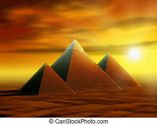 Mysterious pyramids - Some ancient pyramids in a desert at...
