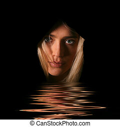 Mysterious Reflection - Beautiful Mysterious Woman in Black...