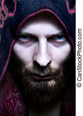 Mysterious scary looking man - Portrait of mysterious scary...