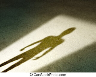 Mysterious shadow of a male figure standing in a doorway. Digital illustration.