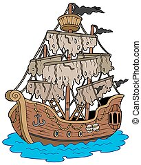 Mysterious ship on white background - isolated illustration.