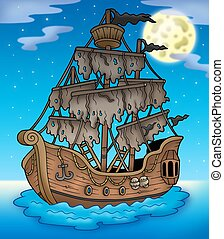 Mysterious ship with full Moon