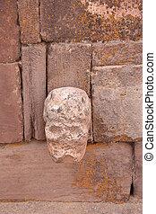 Mysterious Skull Head in Tiwanaku