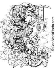 mysterious snake adult coloring page - adult coloring page -...