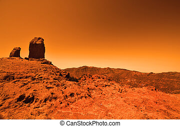 Mysterious terrestrial planet - View of the red terrestrial...