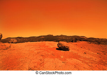 Mysterious terrestrial planet - View of the red terrestrial ...