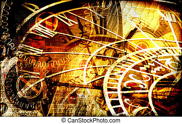 Grungy design with mysterious time machines and clock composition in warm tone