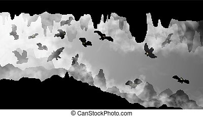 Mysterious underground cave whith flying bats black and white simple silhouette vector illustration. The cavern inside the realistic fog clouds with rocks, stalactites hand drawn scenery background.
