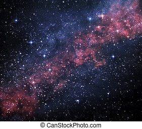 Cosmic image of rich star field with bright nebulae