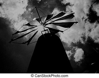 mysterious windmill - Mysterious greek windmill at noon