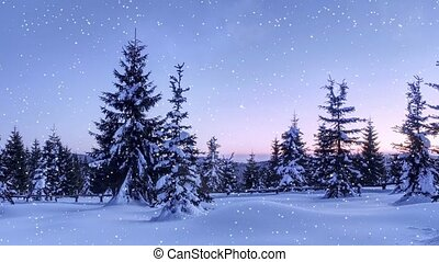 Mysterious winter landscape, majestic mountains in winter....