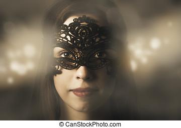 Mysterious woman at masquerade ball