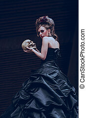 Mysterious woman in black dress - Mysterious woman dressed...