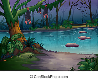 Mysterious woods and a river - Illustration of mysterious...