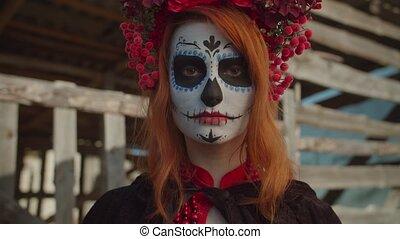 mysteriously, santa, maquillage, muerte, femme regarde
