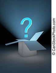 Mystery box - render of an open box with a question mark