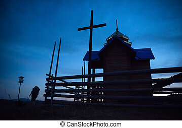 Mystery church over moon light at dark blue night