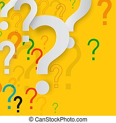 Mystery Concept with Paper Cut Question Marks on Yellow Background. Confusion Vector Design.