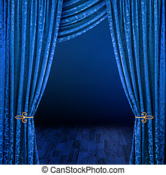 Blue curtains framing mysterious dark stage scene
