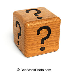 Mystery dice - Wooden dice with question marks on it over...