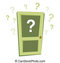 Mystery Door With Question Marks Vector - Vector stock of...