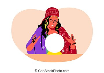 Mystery, fortune telling, astrology, future concept. Young woman girl gypsy oracle cartoon character looking at crystal ball sphere. Spiritual mysterious session for life predictions illustration.