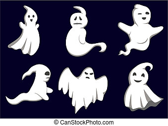 Set of ghosts for design isolated on background