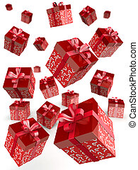 Mystery gift and surprises concept gift box falling with...