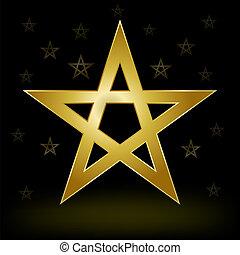 gold pentagram - mystery gold pentagram on the dark ...