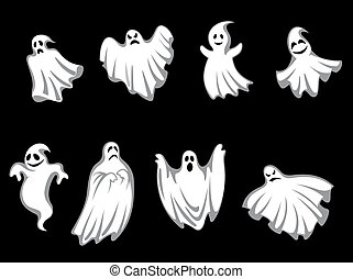 Mystery halloween ghosts - Set of ghosts for halloween ...