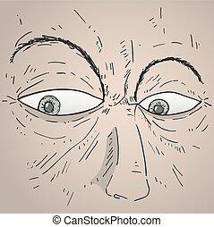 mystery man face draw