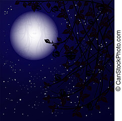 mystery night - night starry sky with a big moon shape a...