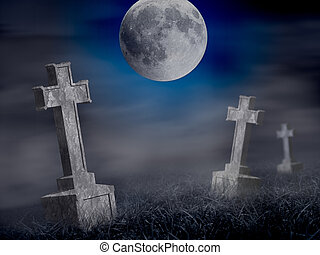 Mystery old graveyard with a group of cross tombstones at...