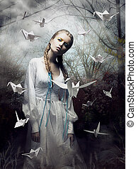 mystery., origami., kvinna, med, vit, papper, pigeon., fe,...